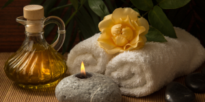spa set up candle oil towels